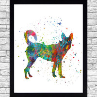 Wall Art Print Watercolor Printable Art, Dog Wall Art Download, Puppy Wall Decor Nautical, Animal Watercolor Paint Splatter Art
