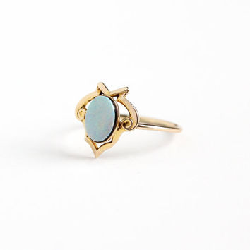 Sale - Antique 14k Yellow Gold Opal Doublet Ring - Size 7 Vintage Edwardian Early 1900s Colorful Fine Blue Black Backing Gemstone Jewelry