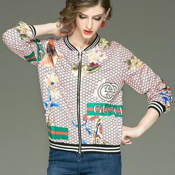 "Hot Sale ""GUCCI"" Newest Popular Women Chic Print Long Sleeve Zipper Cardigan Jacket Coat"