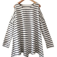 Striped Scoop Neck Long Sleeve