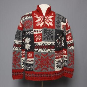 80s CHRISTMAS SWEATER / Ralph Lauren SNOWFLAKE Hand Knit Pullover, S
