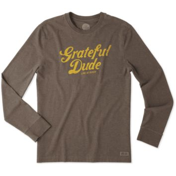 Men's Grateful Dude Thanks Long Sleeve Crusher Tee