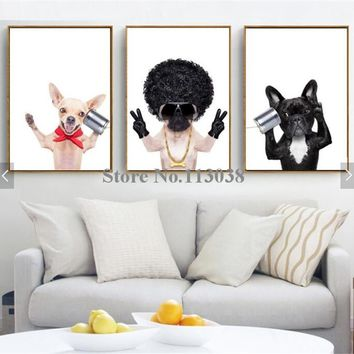 Western Style 3 Pieces Lovely Dogs Printed Canvas Painting Children Room Pet Wall Art Pictures No Frame
