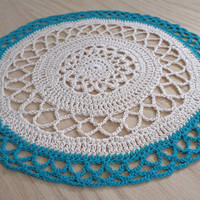 Crochet Doily Cream and Teal aqua ecru home decor doily round kitchen folk art