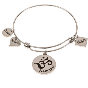 Stainless Steel Expandable Charm Bangle Bracelet Namaste Om