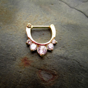 Septum Ring - Gold Plated with CZ Gems