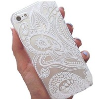 Sankuwen for Iphone 5s Case, Henna White Flower Plastic Case Cover for Iphone 5s (White)