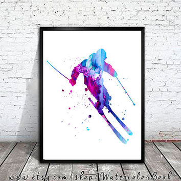 Ski 2 Watercolor Print, Ski art, watercolor painting, watercolor art, Illustration, Snowboard art, art print, ski poster