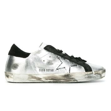 GOLDEN GOOSE DELUXE BRAND SUPER STAR SNEAKERS METALLIC SILVER - BLACK