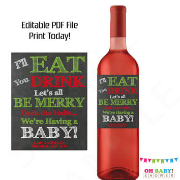 Christmas Pregnancy Announcement Wine Label Chalkboard Baby Announcement Christmas Baby Reveal to Friends and Family Be Merry Custom Label