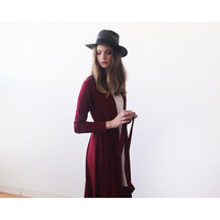 Blushfashion™ Knitted Maxi Bordeaux Cardigan with Pockets