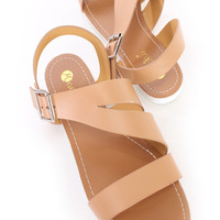 Nude Strap Cut Out Summer Cute Sandals Faux Leather