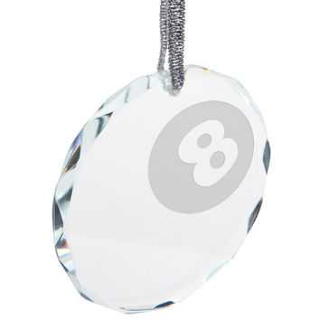 Pool 8 Ball Etched Round Crystal Ornament