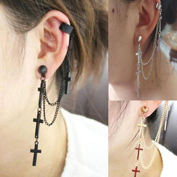 Gothic Rock Punk Cross Long Tassel Chain Ear Wrap Cuff Stud Clip Earring HU