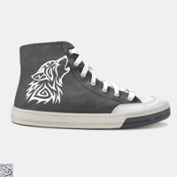 Tribal Wolf Roaring, Tribal Style Skate Shoe
