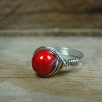 Ruby Red Ring // Graduation Gift Idea // Handmade Wire Wrapped Jewelry // Size 8 // (R109)