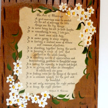 "vintage wooden plaque ""the art of marriage"" by rosalie wedding wall hanging, antique wooden hanging anniversary gift hand painted wood"
