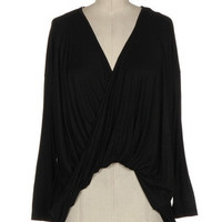 Black Cross Front Jersey Top