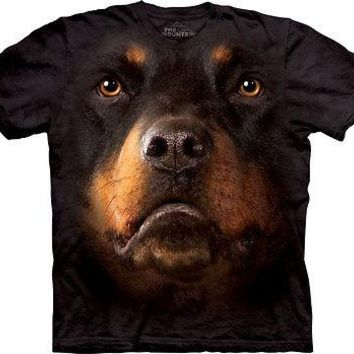 Rottweiler Dog Face T-shirt by The Mountain Adult Sizes Tee