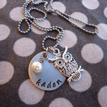 Personalized Necklace - Hand Stamped Stainless Steel with Owl Charm SHIPPED in 10-14 Days SHIPPING TIME 3-5 Days
