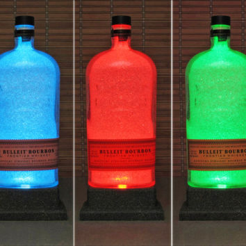 Bulleit Bourbon Kentucky Whiskey LED Remote Color Changing Liquor Bottle Lamp Bar Light