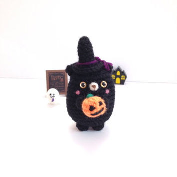 Halloween Amigurumi Cat Crochet Cat Amigurumi Witch Crochet Doll  Stuffed Animal Crochet Black Cat Chubby Cat KidsToy Halloween Gift Idea