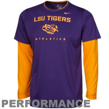Nike LSU Tigers Youth 2Fer Long Sleeve Dri-FIT Performance T-Shirt - Purple/Gold - http://www.shareasale.com/m-pr.cfm?merchantID=7124&userID=1042934&productID=528459824 / LSU Tigers
