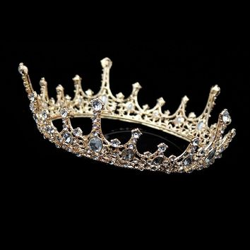 Vintage Trendy Men Gold Tiara Big Rhinestone Wedding Round Crowns For Bride Hair Accessories Jewelry Crystal Queen King Crown