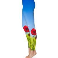 Red Poppies Field - Leggings in XS-3XL -  Sports or Fleece Fabric Leggins - Yoga, Gym, Thick Winter Gym Yoga 000621