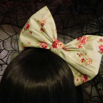 Green Floral Lolita Headbow with black satin headband - classic lolita sweet lolita country lolita