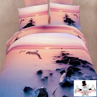 3D Bed Set Dolphins Diving Pink Sunset Bedding Set and Quilt Cover