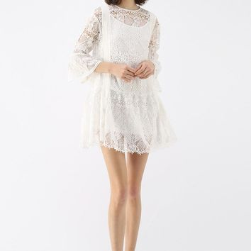 Crochet Nature Bell Sleeves Dress in White
