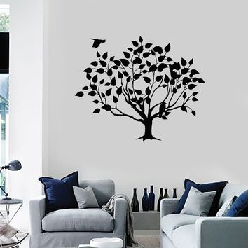 Wall Decal Beautiful Tree Leaves Bird Art Room Decor Vinyl Stickers Unique Gift (ig2842)