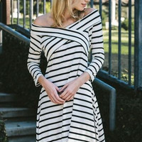 Boutique Striped rayon modal cross over off shoulder dress Made in USA