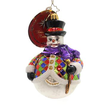 Christopher Radko CHILLY-QUIN Glass Snowman Ornament 1018219
