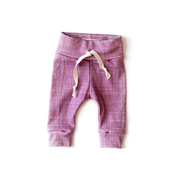 Organic Drawstring Leggings in Cranberry Plum
