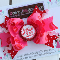 Valentine Bow --- Kisses For Sale --- hot pink and red for Valentines Day