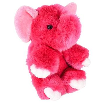 8 Inch Stuffed Pink Elephant Plush Sitting Animal Prism Collection