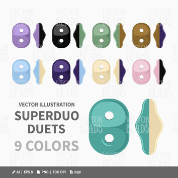 Vector Clip-art Set of Two Hole SuperDuo Duets for Creating Beading Diagrams - Instant Download