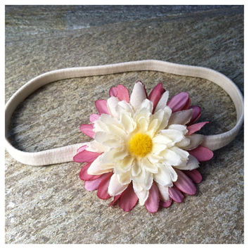 SALE-Handmade Daisy Headband-Handmade Dusty Rose Cream Floral Headband-Hippie Headband-Flower Headband Festival-Boho Chic-Christmas Gifts