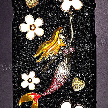 Mermaid cell phone case, iphone 6 plus cell phone case, bling cell phone case, mermaid bling, iphone cell case, ransdellsrhinestones