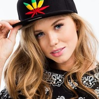 Embroidered Rasta Leaf Snapback Cap