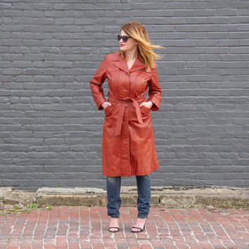 vintage 70s leather jacket women / brown leather trench coat / leather duster / womens leather coat