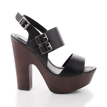 Rudy11 Black Pu By Breckelle's, Strappy Multi Buckle Faux Wooden Platform Chunky Heel Sandals