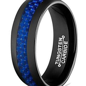 8mm Tungsten Carbide Ring Blue Carbon Fiber Inlay Black Plated Men Band