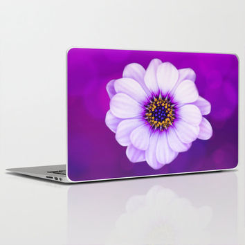 """QUALITY Laptop Skin for MacBook Air/ Pro/ Retina 11"""" 13"""" 15"""" 17"""" and PC Laptops 13"""" 15"""" 17"""" - Purple Daisy Floral Laptop Protection Decal"""