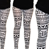 SALE Womens Aztec print black and white Leggings Tights