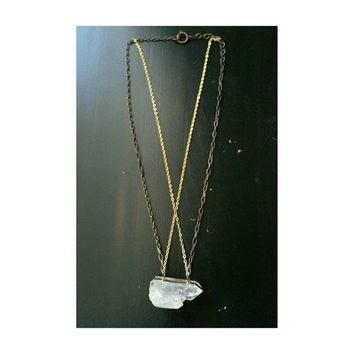 Huge Raw Quartz Crystal Necklace - free-form crystal electroplated 18k gold