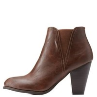 Brown Bamboo Side-Gored Chunky Heel Booties