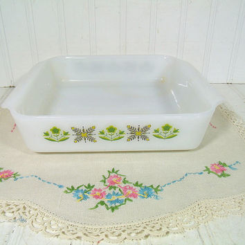 Vintage Anchor Hocking Fire King Oven Proof 8 Inch Square Casserole Bowl - Retro Green Meadow Pattern Collection Heavy Glass Baking Dish
